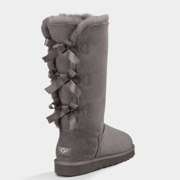 uggs gray boots with bows