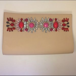 Express Handbags - Nude Jeweled Clutch