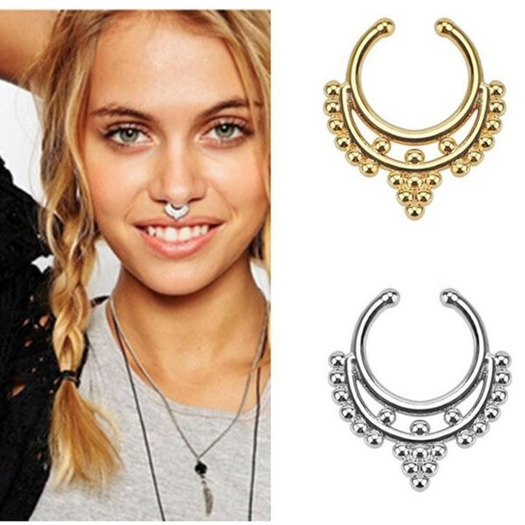 Free People Jewelry Boho Tribal Clip On Septum Ring Faux Nose