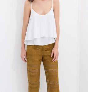 Zara woman lace yellow crochet trouser pant small