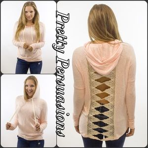 Pretty Persuasions Sweaters - Contrast Brushed Hacci Crochet Lace Slub Hoodie