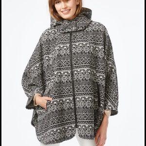Wildflower Sweaters - Wildflower Printed Zip-Front Hooded Poncho. B024