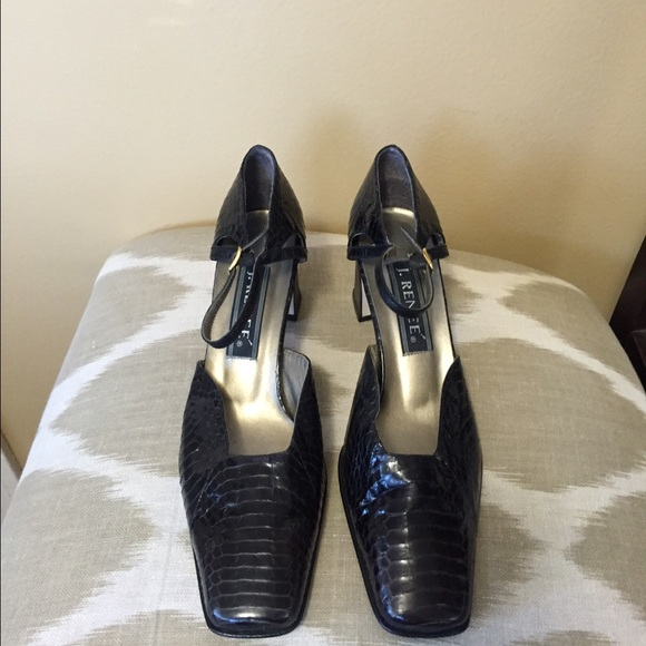 d4078c755a3e3 J. Renee Brown Snake Embossed Leather Pumps 9M