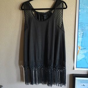 tank with crochet straps and fringe bottom