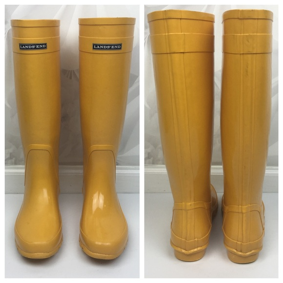 63% off Lands' End Shoes - [Lands' End] Yellow Rain Boots Wellies ...