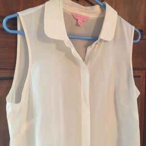 Lilly Pulitzer sleeveless white blouse