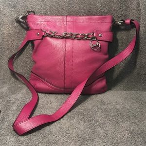 Coach authentic pink leather cross body bag
