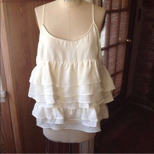 Who What Wear Tops - Ivory Tiered Ruffle Tank by Who What Wear