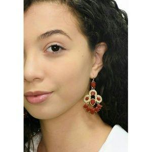 Jewelry - Women's Chandelier Style Stud Earrings - Wine