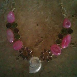 Jewelry - Pink Druzy Shell Necklace
