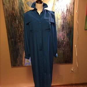 Navy blue long dress shirt from 80's