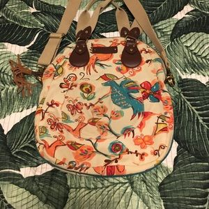 Lucky Brand Canvas and leather bird crossbody