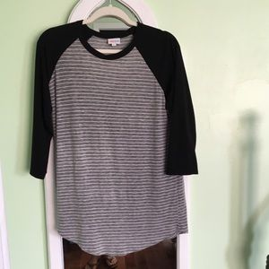 NWOT Med LuLaRoe Randy Black Grey Stripes