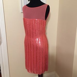 Aidan Mattox Coral Salmon Sequin Mini Dress 6 NEW