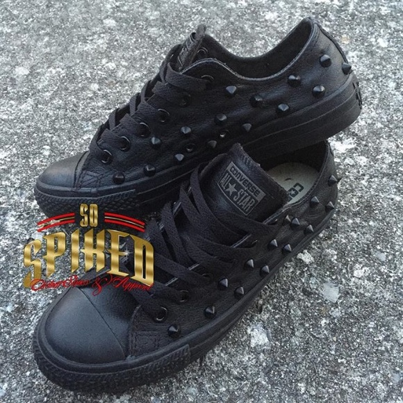 Black leather studded converse NWT cf3ad4088