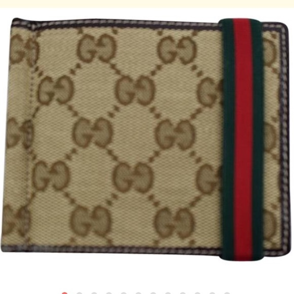 bbd3669e7c9d27 Gucci Bags | Nib Beige Canvas Gg Red Green Band Clip Wallet | Poshmark