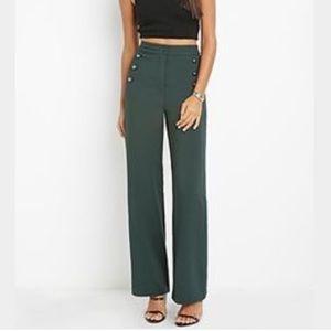Pants - High waist forest green work career pants