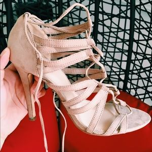 Most beautiful heels ever! Strappy nude