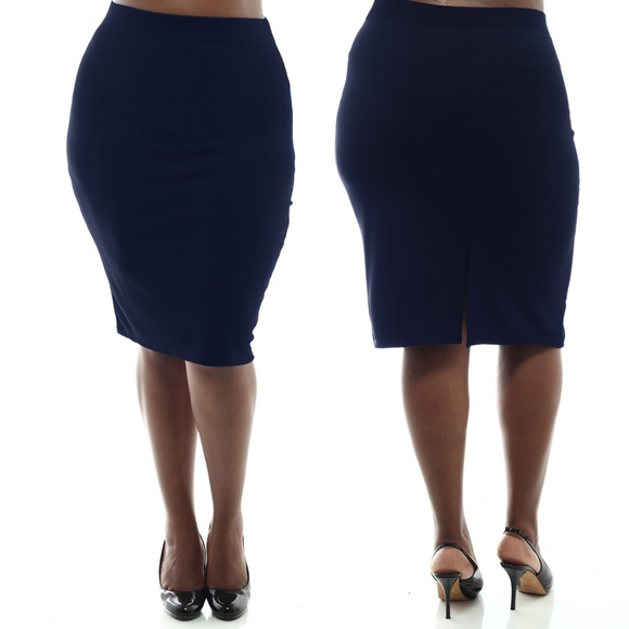 NAVY BLUE plus size stretch textured pencil skirt from Stylzoo's ...
