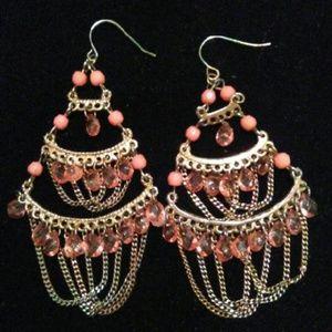 Peach Boho Chandelier Earrings
