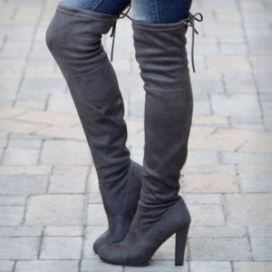 clmayfae Shoes - *LAST1* Grey Suede Thigh High Over the Knee Boots