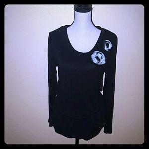 Bisou bisou black long sleeve top size xl