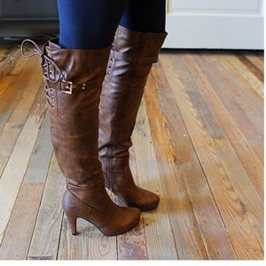 Over the knee lace back buckle boot