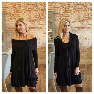 Black tiered ruffle hem on/off the shoulder dress