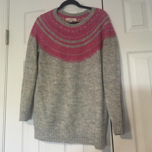 74% off LOFT Sweaters - LOFT grey and pink fair isle tunic sweater ...