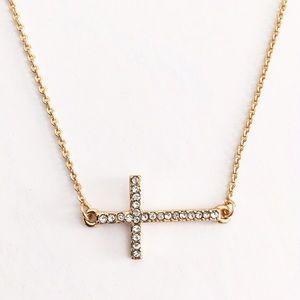 Express pavé gold cross necklace
