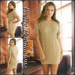 NWT Beige Cable Knit Sweater Dress