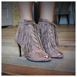 Taupe peep toe lace up fringe bootie