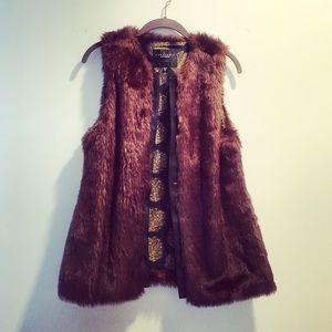 Sanctuary Jackets & Blazers - Faux black leather and brown fur vest