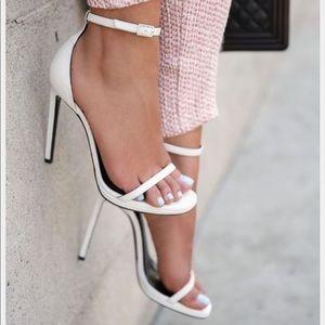 Zara White Minimalist Anklestrap Heels