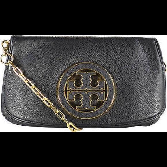 91a86c6796c Tory Burch Amanda Logo Flap Clutch Crossbody. M 57dc2c185a49d0922e006ea7