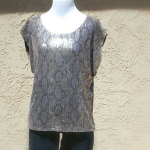 Ark & Co Tops - ARK & CO Silver Sequin Top Snakeskin Print Size S