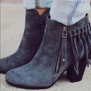 Shoes - Gray Vegan Suede Ankle Booties