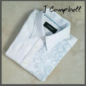 ⚙ J Campbell White Dress Shirt Embroidered