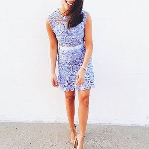 Lilac lace cutout dress
