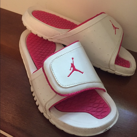 04c87fb8dce9 Jordan Other - Girls pink and white Jordan Slides