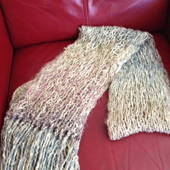 Accessories Handmade Knit Scarf Loose Weave And Multicolored