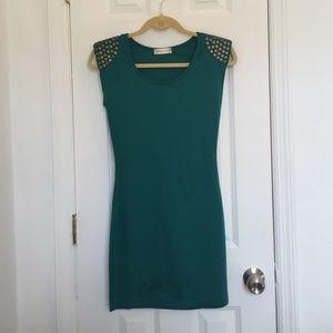 Studded Green Mini Dress