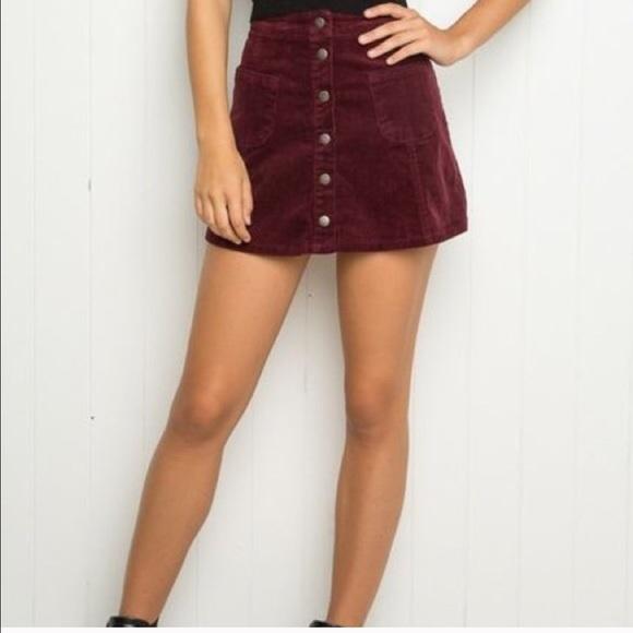 e69ad4b923 Brandy Melville Skirts   Burgundy Corduroy Button Down Skirt   Poshmark