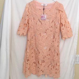 Coral crochet dress