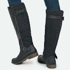 JustFab Shoes - JustFab Wide Calf Quilted Corinthia Boots