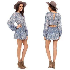 Free People Floral Silver Sun Print Dress Blue XS