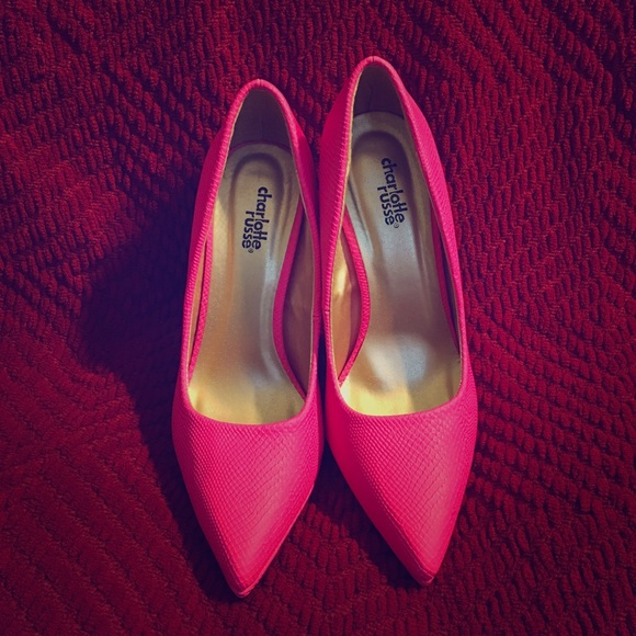 Charlotte Russe Shoes - Neon/Hot Pink Pumps