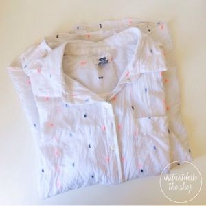 OLD NAVY white accented button down top