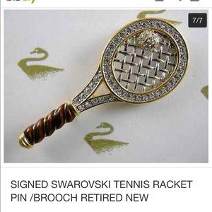 Swarovski tennis racket brooch