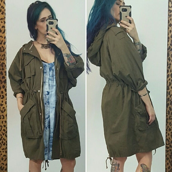 30% off H&M Jackets & Blazers - H&M olive green long parka jacket ...